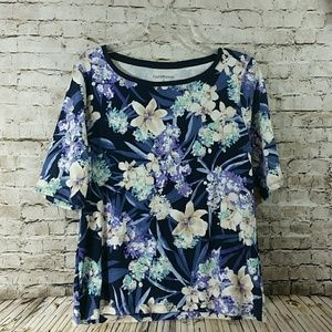Croft barrow floral top large 3/4 sleeves